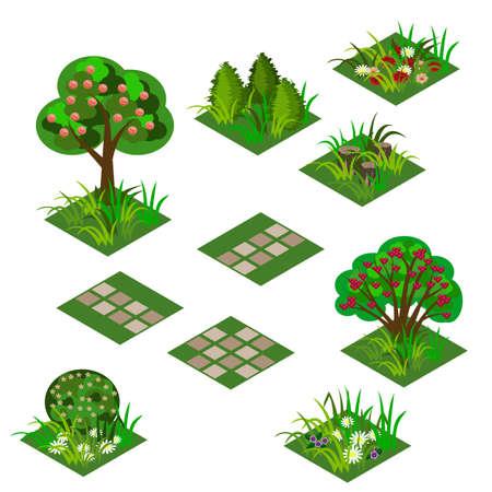 Garden or farm isometric tile set. Isolated isometric tiles trees, flowers in grass, bushes in blossom and paving walks to design garden landscape scene in cartoon or game asset. Vector illustration Vektorové ilustrace