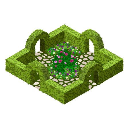 Isometric garden landscape scene. Topiary garden bushes, flowers and grass, paved walks, rose bush. Tto design garden in classic style  for cartoon or game asset. Isometric view, vector illustration Иллюстрация