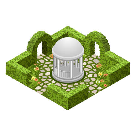 Isometric garden landscape scene. Topiary garden bushes, flowers and grass, paved walks, rotunda. To design garden in classic style  for cartoon or game asset. Isometric view, vector illustration Иллюстрация