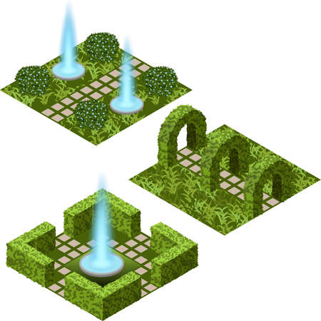Garden isometric set to create garden landscape scene for game asset or cartoon background. Fountain, flowers, bushes and trees, paved walks. Isolated isometric tiles.  Vector illustration