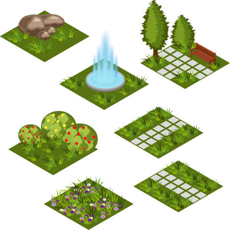 Garden isometric tile set. Isolated isometric tiles to design garden landscape scene. Cartoon or game asset with grass, trees, flowers, paved walks, garden fountain. Vector illustration