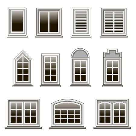 Satz moderner Fensterrahmen zum Entwerfen oder Umgestalten von Haus außen oder innen. Isolierte Fenster auf weißem Hintergrund. Flacher Designstil. Vektor-Illustration.