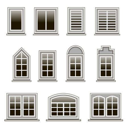 Set of modern windows frames to design or remodel  house exterior or interior. Isolated windows on white background. Flat design style. Vector illustration.