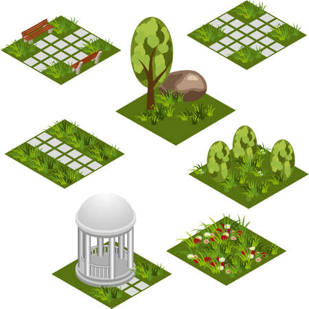 Garden isometric tile set. Isolated isometric tiles to design garden landscape scene. Cartoon or game asset with grass, trees,  flowers, paved walks,  rotunda. Vector illustration