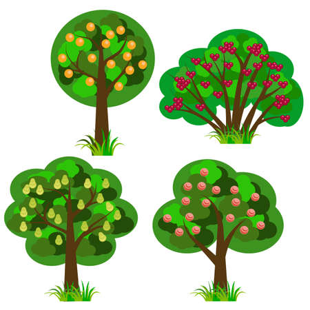 Set of fruit trees, isolated elements to design landscape scene for cartoon or farm game asset. Orange, apple, cherry, pear trees. Flat cartoon style. Vector illustration