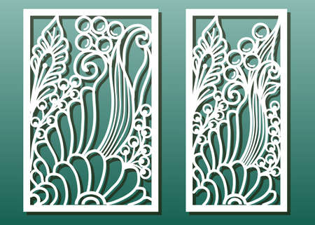 Laser cut panels with floral pattern. Die templates, cut-out for wood or metal decor or fretwork, card engraving stencil. Vector set. Ilustrace