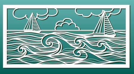 Laser cut template. Stencil for wood or metal cutting or carving, paper art, wall decorative panel for interior design. Sea landscape with waves and sailboat. Vector illustration Çizim