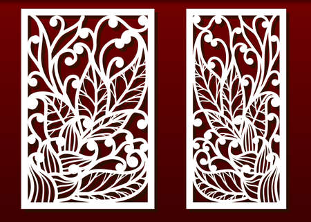 Laser cut panels with floral pattern. Die templates, cut-out for wood or metal decor or fretwork, card engraving stencil. Vector set. 向量圖像