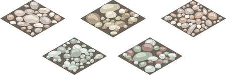 Carreaux de texture de pierre isométrique. Ensemble de pierres, rochers, galets, galets au sol pour la conception de scènes de paysage ou d'arrière-plan. Peut être utilisé dans l'actif du jeu, dessin animé. Illustration vectorielle