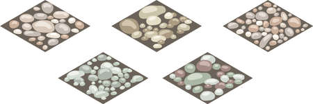Isometric stone texture tiles. Set of stones, rocks, cobble,shingle on ground for design landscape scenes or background. Can be used in game asset, cartoon. Vector illustration