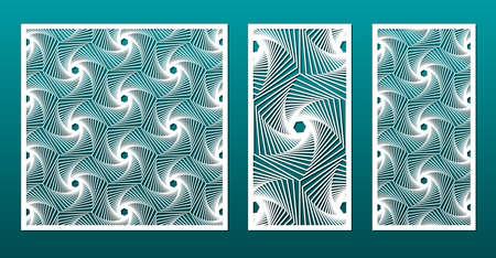 Panneaux découpés au laser avec motif géométrique dans un style de conception islamique arabe, ensemble d'images vectorielles. Gabarit ou pochoir pour la coupe du métal, la sculpture sur bois, le chantournage, l'art du papier. Utile en décoration d'intérieur, décoration de cartes.