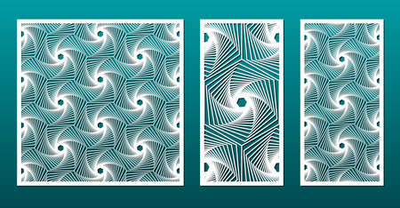 Laser cut panels with geometric pattern in arabic islamic design style, vector set. Template or stencil for metal cutting, wood carving, fretwork, paper art. Useful in interior design, card decoration.