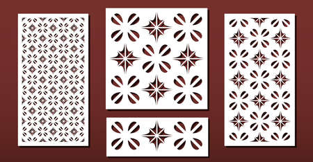 Laser cut panels with abstract geometric pattern, vector set. Template or stencil for metal cutting, wood carving, fretwork, paper art. Useful in interior design, card decoration.  Ilustração