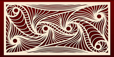 Laser cut panels template, abstract geometric pattern for metal cutout, wood carving, fretwork stencil, paper art. For interior design, card decoration, engraving. Vector illustration