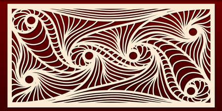 Plantilla de paneles cortados con láser, patrón geométrico abstracto para recorte de metal, talla de madera, plantilla de calado, arte de papel. Para diseño de interiores, decoración de tarjetas, grabado. Ilustración vectorial