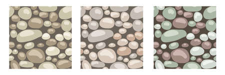 Stone texture, vector set of seamless patterns. Rocks, stones, cobble, gravel, shingle  for background or pavement decor.