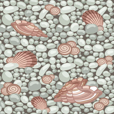 Stone texture with seashells, seamless pattern. Cobble, shingle, gravel, shells to create background. Vector illustration Illustration