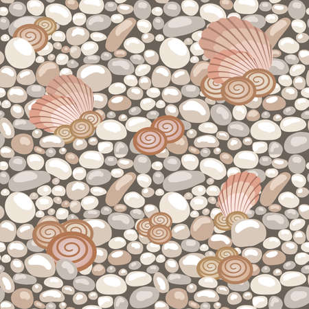 Stone texture with seashells, seamless pattern. Cobble, shingle, gravel, shells to create background. Vector illustration  イラスト・ベクター素材