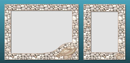 Decorative photo frames template, vector set. Frame border design with natural stone or cobble texture and seashells. For picture, image, banner, poster, card decor, paper print