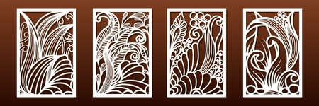 Ensemble de panneaux pour la découpe laser. Modèles pour la coupe du bois ou du métal, pochoir ajouré, art du papier. Motif sous-marin abstrait avec éléments floraux et coquillages. Pour la décoration intérieure, fond de carte, matrice ou pochoir. Vecteur.