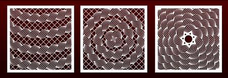 Plantilla de pamels de corte láser, patrón geométrico abstracto. Recorte decorativo de metal, talla de madera, plantilla para calados, arte de papel. Para el diseño de interiores, decoración de fondo de tarjetas, grabado. Conjunto de vectores