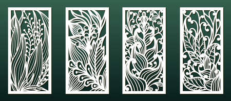 Laser cutting templates with floral pattern. Wood or metal  cut, stencil for fretwork or carving, paper art. Vector set, Panel decor for interior design, card background decoration or engraving. Çizim