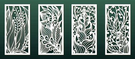 Laserschneidschablonen mit Blumenmuster. Holz- oder Metallschnitt, Schablone für Laubsägearbeiten oder Schnitzen, Papierkunst. Vektorset, Panel-Dekor für Innenarchitektur, Kartenhintergrunddekoration oder Gravur.