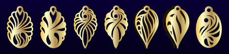 Laser cut pendants or earrings templates. Vector set. Jewelry or bijouterie design, pattern for cutting.