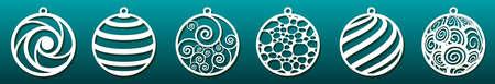 Set di modelli tagliati al laser. Palle di Natale, motivo astratto nel design subacqueo. Taglio del metallo, arte della carta, intaglio del legno, stencil per traforo o fustella. Illustrazione vettoriale