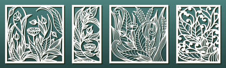 Laser cut panel template, anstract floral pattern. Stencil for wood or metal cutting, carving, paper art, fretwork. Card background decoration, interior design. Vector illustration Illustration