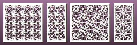 Laser cut pamels template, vector set. Abstract geometric pattern. Stencils, die for metal cutting, paper art, fretwork, wood carving, card background, wall panel design. Illustration