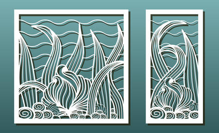 Vector set of panels for laser cutting. Templates for wood or metal cut, fretwork stencil, paper art, card or interior design. Abstract underwater pattern with floral and sea shell elements.