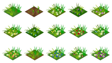 Isometric grass and flowers set. Isolated tiles to design farm or garden landscape. For cartoon or game asset. Vector illustration. Иллюстрация