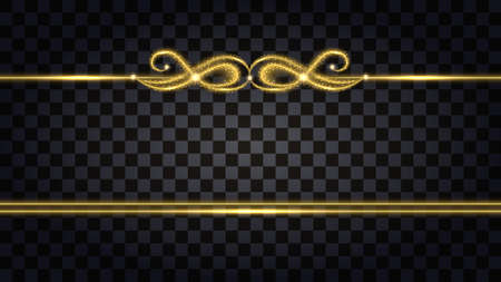 Gold borders with glowing glitter effect. Design element isolated on transparent background with light shine for template decoration. Vector illustration