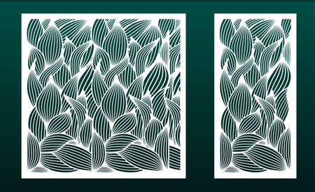 Set of panels for laser cutting. Templates for wood or metal cut, fretwork stencil, paper art. Floral pattern with leaves. For interior design, card background, die or stencil. Vector illustration