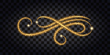 Gold glitter flourish. Design element isolated sith golden glow effect, sparkles and neon shine. Vector illustration