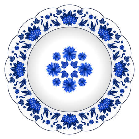 Decorative porcelain plate ornate with floral pattern. Isolated object, design elements i in traditional style, wild flowers and leaves, blue on white, top view. Vector illustration