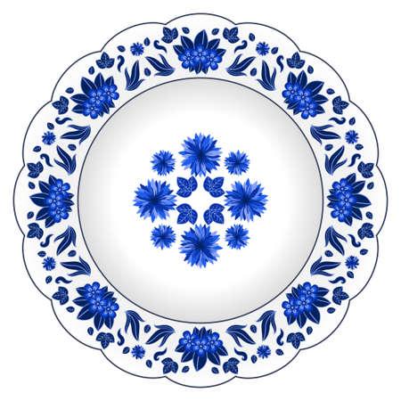 Dekorativer Porzellanteller mit Blumenmuster verziert. Isoliertes Objekt, Gestaltungselemente i im traditionellen Stil, wilde Blumen und Blätter, blau auf weiß, Ansicht von oben. Vektor-Illustration Vektorgrafik