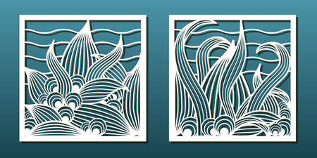 Set of laser cut emplates. Templates for wood or metal cutting, paper art, panel decor, stencil for fretwork. Abstract floral pattern, sea world design. Vector illustration