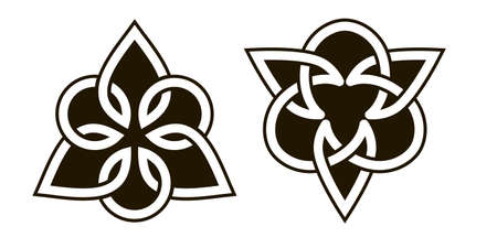 Set of celtic knots. Traditional celtic ornament elements isolated, design black and white. Vector illustration Ilustración de vector