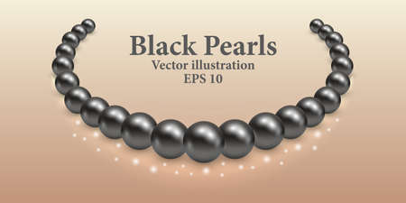 Black pearl necklace with light shiny effect and glowing sparkles. Luxury beauty design vector illustration.