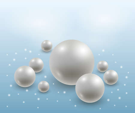 Abstract background with realistic 3d pearls. Elegant luxurious design, white and blue. Vector illustration Illustration