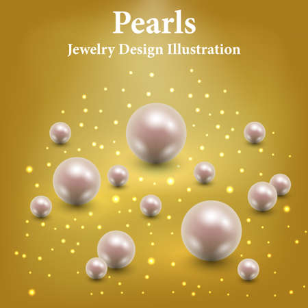 Pearls on golden glittering background. Luxury jewelry design with light glowing and sparkles. Vector illustration