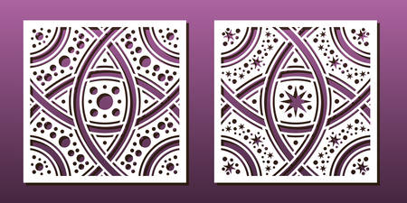 Laser cut template set, abstract geometric pattern. Panel decor, metal cutting, wood carving, paper art, fretwork stencil design. Vector illustration