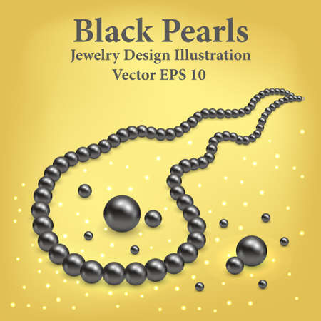 Black pearl necklace. Jewel luxury design vector illustration. Realistic 3d pearls on golden background with light shiny effect.