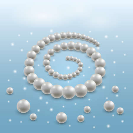 Pearl necklace, elegant jewel illustration. 3d realistic pearls on blue background with light shiny effect. Vector illustration