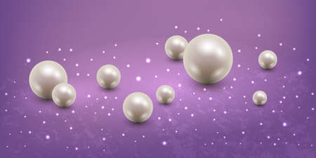 Abstract background with realistic pearls. Single 3d pearls, luxurious design with light glow effect and sparkles. Vector illustration Illustration