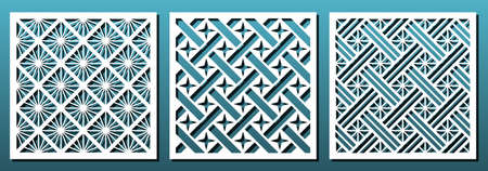 Lasergeschnittener Vorlagensatz, abstraktes geometrisches Muster. Plattendekor, Metallschneiden, Holzschnitzerei, Papierkunst, Laubsägenschablonendesign. Vektor-Illustration Vektorgrafik