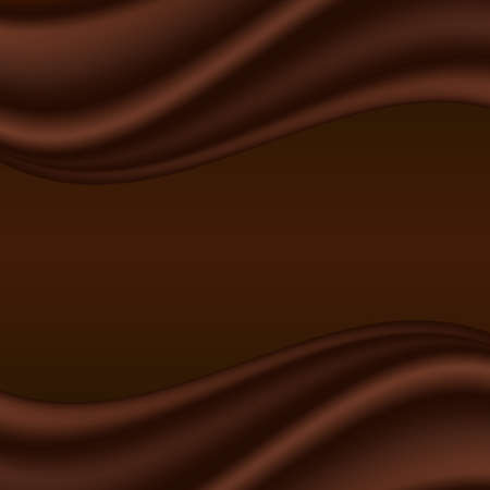 Chocolate wave, abstract dark brown background, smooth satin texture. For cover or page design. Vector illustration