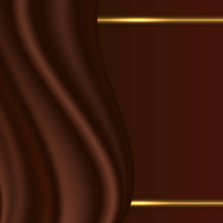 Chocolate wavy abstract background with smooth satin texture and golden glowing separator lines 일러스트